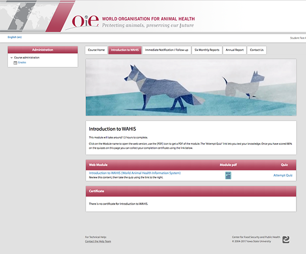 World Animal Health Information System screenshot