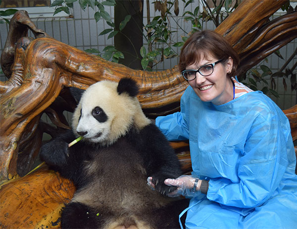 Dr. Bonnie Murphy with a panda
