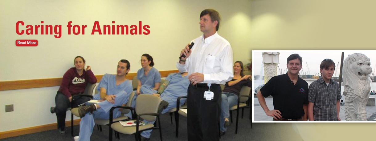 Dr. Gary Borkowski teaching in a classroom and traveling in Singapore