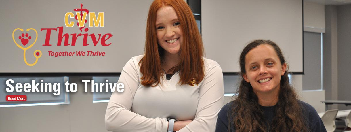 DVM students Shannon Leary (left) and Liz Kenney in a classroom.