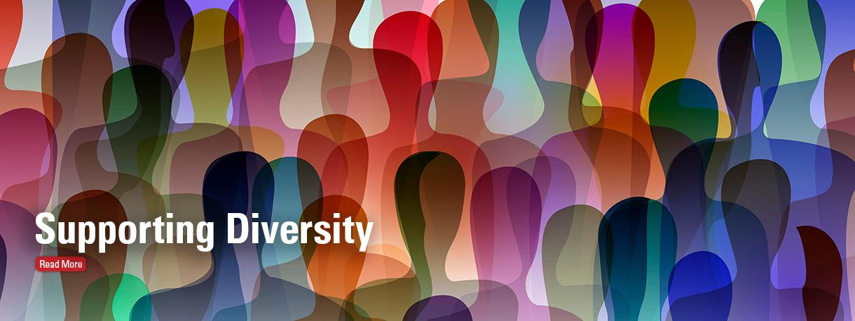 Supporting diversity colorful graphic of silhouettes of people